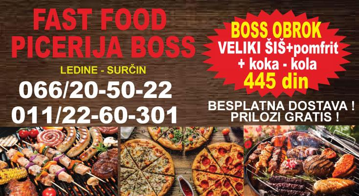 #BOSS-akcija-ledine-surcin-aerodrom-fast-food-picerija-sendvici-palacinke-pica-rostilj-lepinja-alkoholni-kola-fanta-pice-hrana-mojabaza